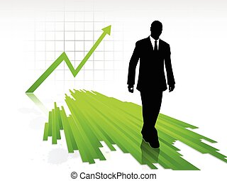 Businessman silhouette walking on statistics chart