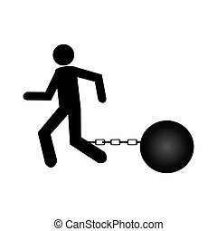 businessman silhouette with Slave shackle
