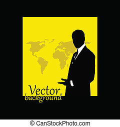 businessman silhouette with world map