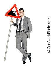 """businessman, sinal estrada"