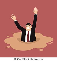 Businessman sinking in a puddle of quicksand