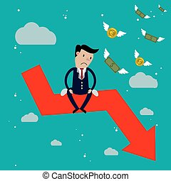 Businessman sit on arrow stock market crash, Stock market falling concept