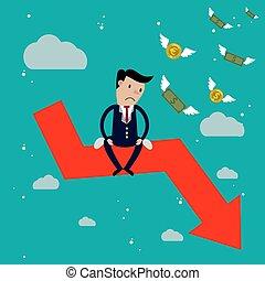 Businessman sit on arrow stock market crash, Stock market...
