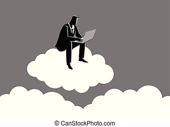 Businessman sits on cloud
