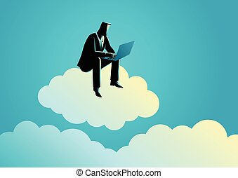 Businessman sits on cloud