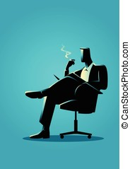 Businessman sitting and reading on a chair while smoking