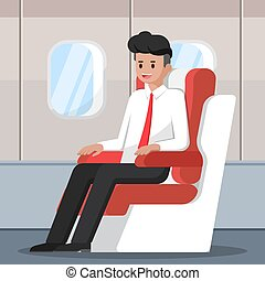 Businessman sitting and relax on the plane.
