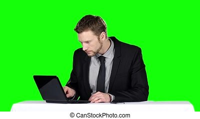 Businessman sitting at a desk and using notebook and calling on the phone. Green screen