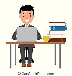 businessman sitting at his desk with a laptop