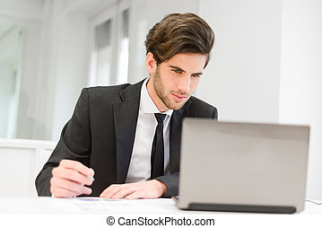 Businessman sitting at his laptop and working in the office