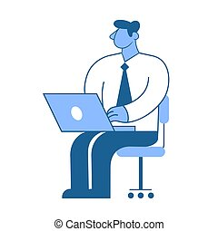 Businessman sitting at his workplace. Manager working on a laptop. Flat vector illustration. Isolated on white background.