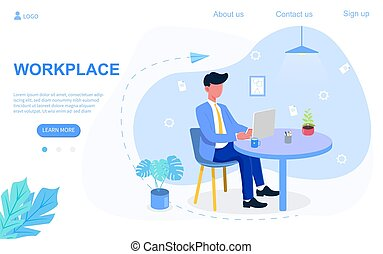 Businessman sitting at the desk and working on laptop