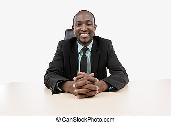 Businessman sitting at the desk - Businessman looking on the...