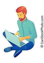 Businessman sitting cross-legged with laptop isometric 3D ...