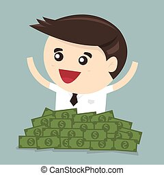 Businessman sitting in a pile of dollar money, vector, flat...
