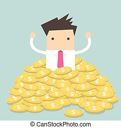 Businessman sitting in gold coins - Businessman sitting in a...