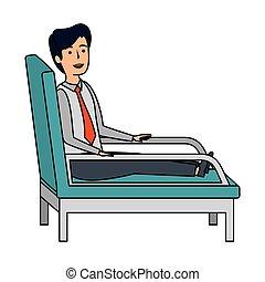 businessman sitting in psychiatrist chair vector...