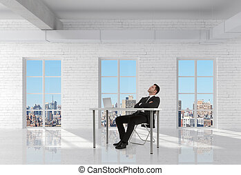 businessman sitting in room