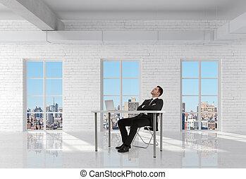businessman sitting in room