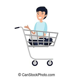businessman sitting in shopping cart
