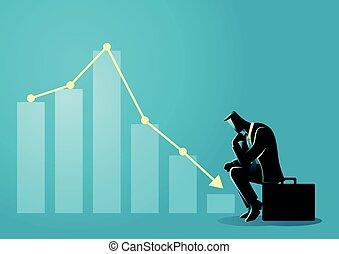 Businessman sitting listless due to decreasing graphic chart...