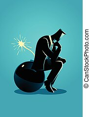 Businessman sitting on a bomb while thinking