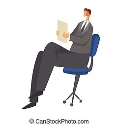 Businessman sitting on a chair with paper documents in his hands. Character vector illustration isolated on white background.