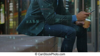 Businessman sitting on a street bench texting and drinking coffee 4k