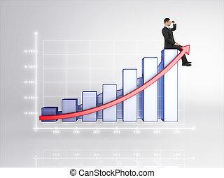 businessman sitting on chart