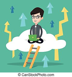 Businessman sitting on cloud with laptop.