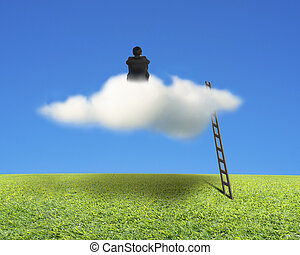 Businessman sitting on cloud with wooden ladder, green meadow and blue sky