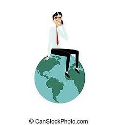 Businessman sitting on globe