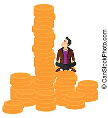 Businessman sitting on gold.