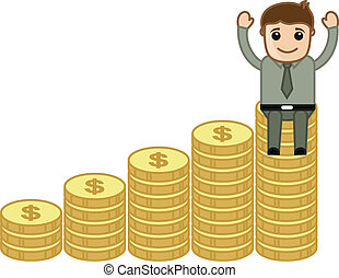 Businessman Sitting on Gold Coins