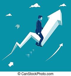 Businessman sitting on rising arrow. Business grow concept. Metaphor, vector illustration