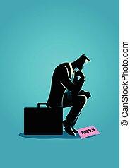 Businessman sitting on suitcase sadly