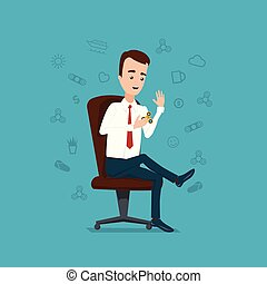 Businessman sitting on the chair and playing in the spinner. Cloud of thoughts