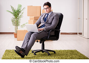 Businessman sitting on the chair in office