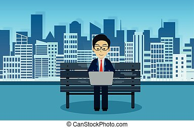 Businessman sitting on the chair playing a computer notebook. In the park behind is the city. creative idea. business finance concept. vector illustration