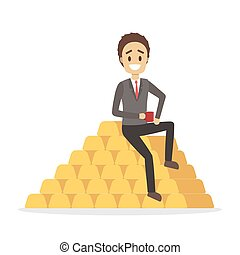 Businessman sitting on the pile of gold bullion