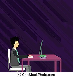 Businessman Sitting Straight on Chair Working on Computer with Books on Table. Creative Background Idea for Medical Advisory for Correct Posture, Technical and Business Issues.
