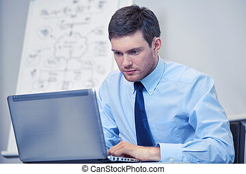 businessman sitting with laptop in office - business, people...