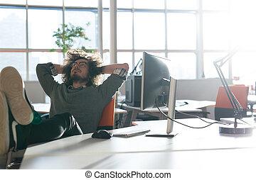 businessman sitting with legs on desk