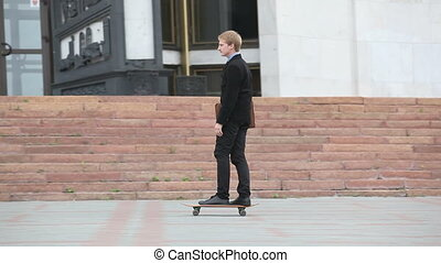 Businessman skating
