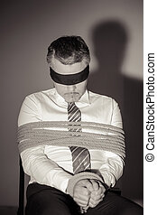 businessman., skjorta, sittande, avbild, uppe, bundet, ...