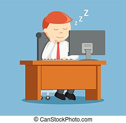 Businessman sleep while working