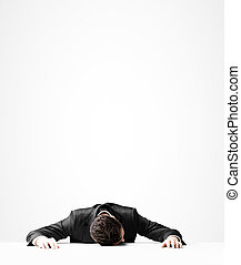 businessman sleeping - businessman in suit sleeping on table
