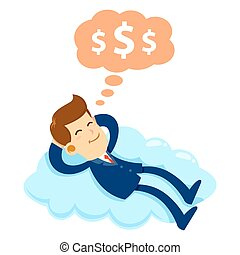 Businessman Sleeping on a Cloud Dreaming About Money