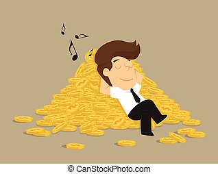 businessman sleeping on a pile of coins, profits