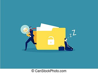 businessman sleeping or Tired creating an idea and running away with a bulb in his hands. Vector flat illustration.